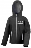 Bestickte Kinder Softshell Kapuzenjacke ( 1488 Our time will come )